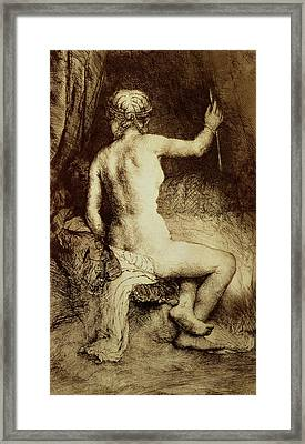 The Woman With The Arrow Framed Print by Rembrandt Harmensz van Rijn