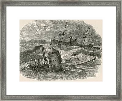 The Wreck Of The Ironclad Monitor, 1862 Framed Print