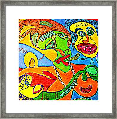 The Yellow Man - Acrylic On Stretched Canvas  Framed Print by Sebastian Joseph