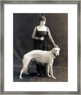 Theda Bara With Her Russian Wolfhound Framed Print by Everett