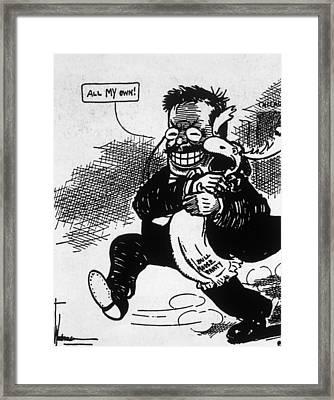 Theodore Roosevelt In Political Cartoon Framed Print by Everett