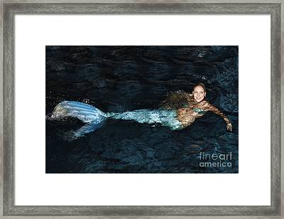 There Is A Mermaid In The Pool Framed Print