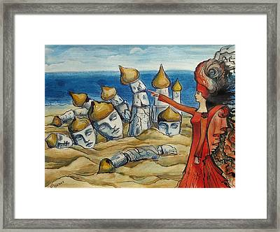 Framed Print featuring the painting There Was A City Before by Valentina Plishchina