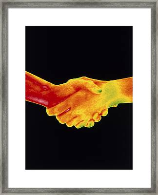 Thermogram Of A Handshake Framed Print