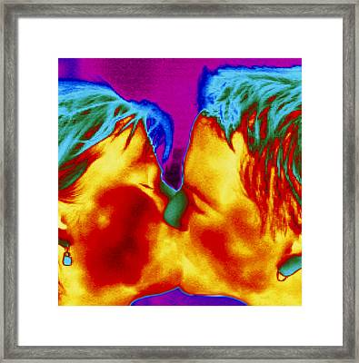 Thermogram Of A Man And Woman Kissing Framed Print
