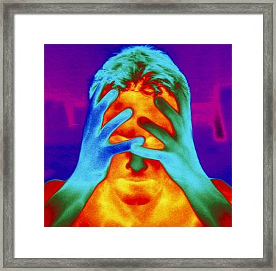 Thermogram Of A Man's Head And Hands Framed Print