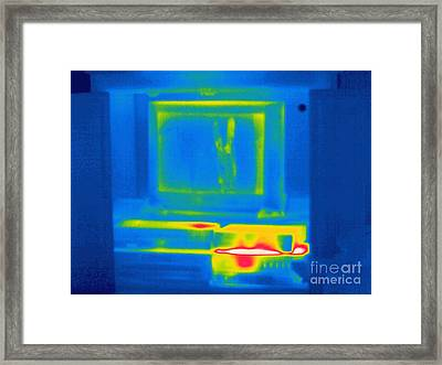 Thermogram Of A Tv And Vcr Framed Print by Ted Kinsman