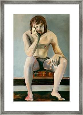 Thinking Guy Framed Print by Olin  McKay