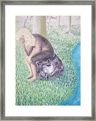 Thinking On The Rock Of Rock Framed Print by Timothy  Foley