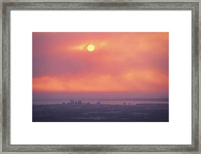 This Sunset Of The Anchorage Skyline Framed Print by George F. Mobley
