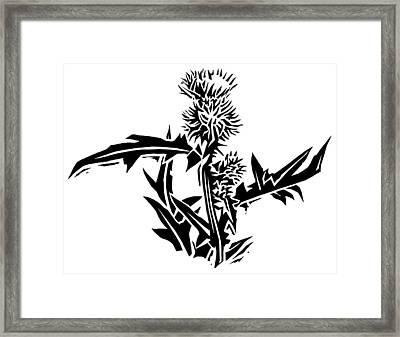 Thistle, Lino Print Framed Print