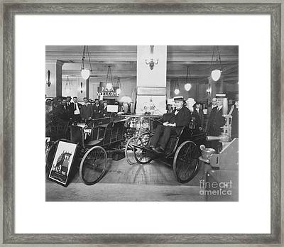 Thomas Edison In Quadricycle Framed Print by Photo Researchers
