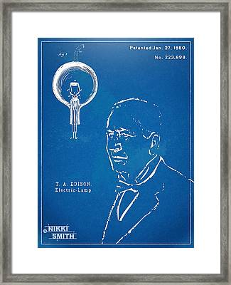 Thomas Edison Lightbulb Patent Artwork Framed Print by Nikki Marie Smith