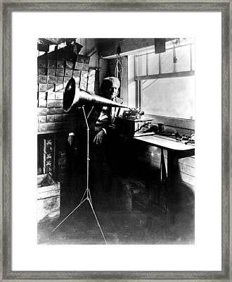Thomas Edison With His New Invention Framed Print by Everett