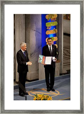 Thorbjorn Jagland Presents President Framed Print by Everett