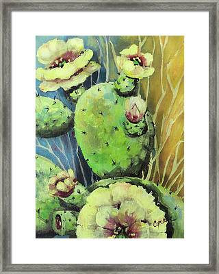 Those Bloomin' Cactus Framed Print by Cynara Shelton