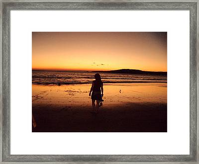 Thoughtful Woman In The Beach Framed Print by Jenny Senra Pampin