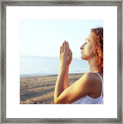 Thoughtful Woman Meditating Framed Print by Cristina Pedrazzini