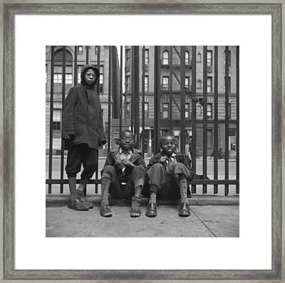 Three African American Boys In Harlem Framed Print by Everett