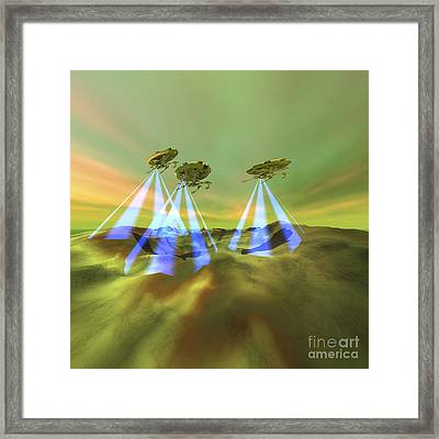 Three Alien Spaceships Steal Framed Print by Corey Ford