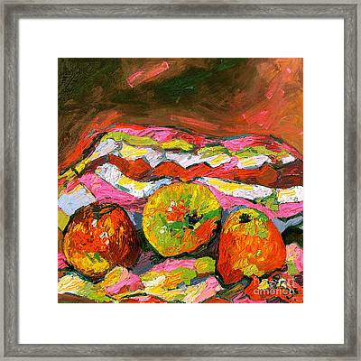 Three Apples On Patterned Cloth Framed Print by Ginette Callaway