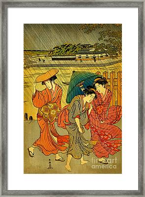 Three Beauties In The Rain 1788 Framed Print by Padre Art