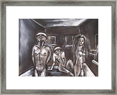 Three Blinded People Unable To Find A Way Out Framed Print