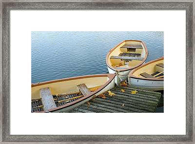 Three Boats Floating On Pond Beside Pier Framed Print