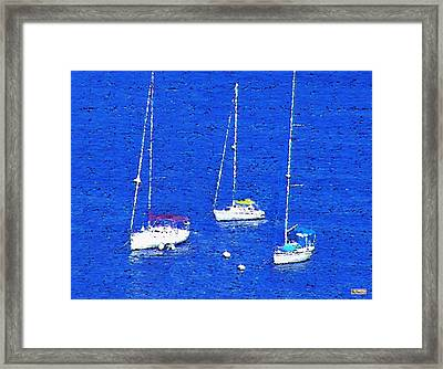 Three Boats Framed Print by Paula Greenlee