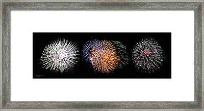 Three Bursts Of Fireworks Four July Two K Ten Framed Print by Carl Deaville