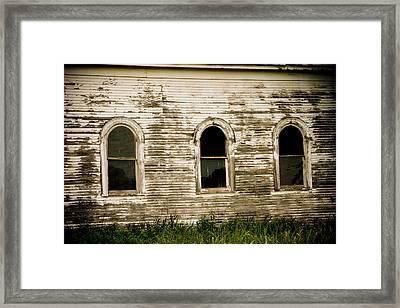 Three Church Windows Framed Print