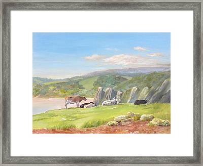 Three Cliffs Bay Gower Framed Print by Maureen Carter