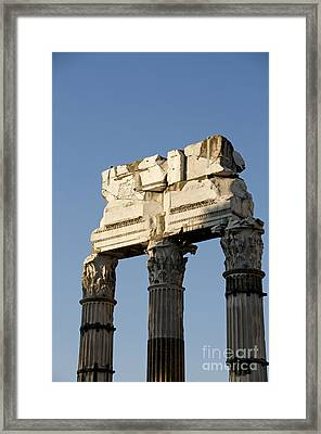 Three Columns And Architrave Temple Of Castor And Pollux Forum Romanum Rome Italy. Framed Print by Bernard Jaubert
