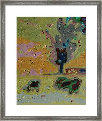 Three Cows And A Tree Framed Print