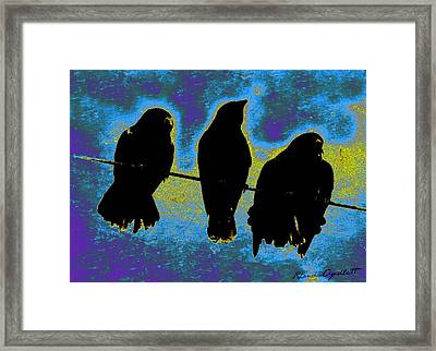 Three Crows Framed Print by YoMamaBird Rhonda