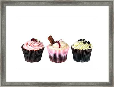 Three Cupcakes Framed Print by Jane Rix