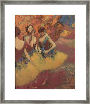 Three Dancers In Yellow Skirts Framed Print by Edgar Degas
