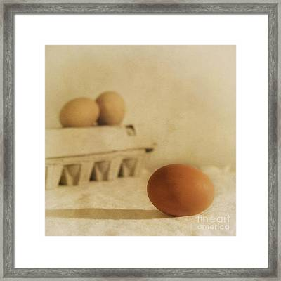 Three Eggs And A Egg Box Framed Print by Priska Wettstein