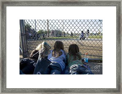 Three Girls Watching Ball Game Behind Home Plate Framed Print by Christopher Purcell