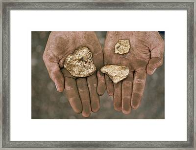 Three Gold Nuggets In A Framed Print by National Geographic