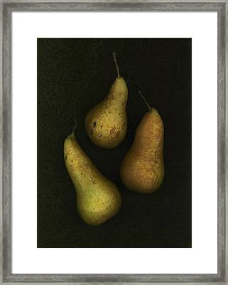 Three Golden Pears Framed Print by Deddeda