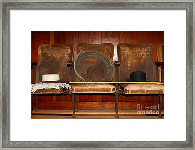 Three Hats A Lasso And A Cane At The Old Movie Theater . 7d12726 Framed Print by Wingsdomain Art and Photography