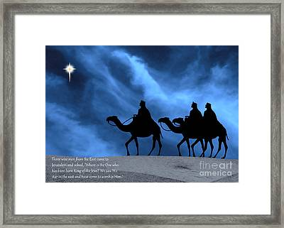Three Kings Travel By The Star Of Bethlehem - Midnight With Caption Framed Print by Gary Avey