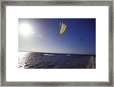 Three Kite Surfers On A Windy Summer Framed Print by Jason Edwards