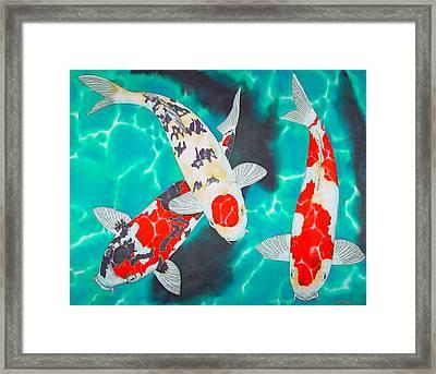 Three Koi Framed Print by Daniel Jean-Baptiste