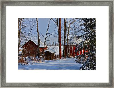Three Little Houses Framed Print