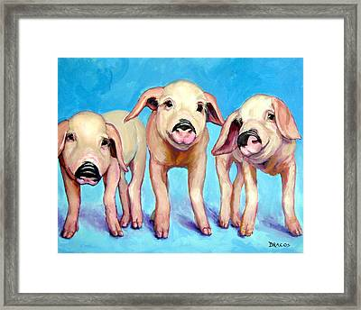 Three Little Piggies Framed Print by Dottie Dracos