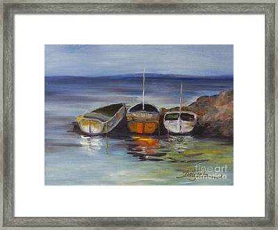 Three Lonely Boats Framed Print by Pati Pelz