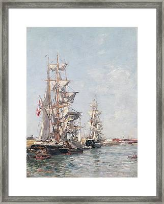 Three-masted Boats At The Quay In Deauville Harbour Framed Print by Eugene Louis Boudin