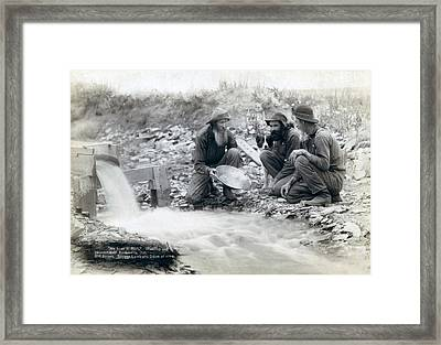 Three Men, With Dog, Panning For Gold Framed Print by Everett